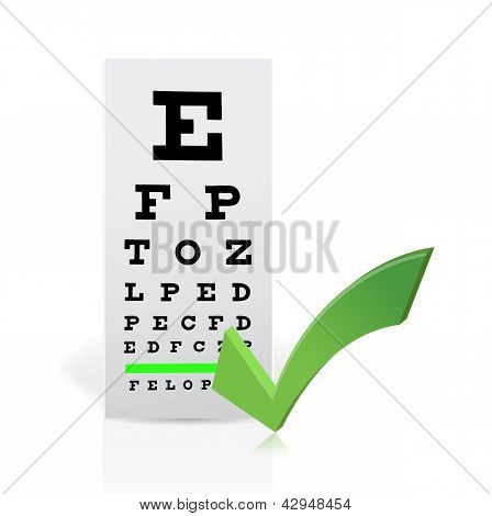 Medical Eye Chart With A Checkmark. Good Vision