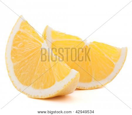 Lemon or citron citrus fruit slice isolated on white background cutout