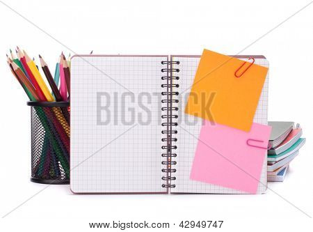 Blank checked notebook with notice papers isolated on white background cutout