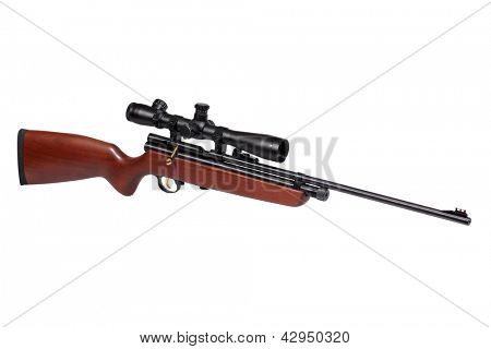 Air rifle isolated over white with clipping path