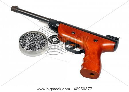 Target shooting equipment isolated over white with clipping path.