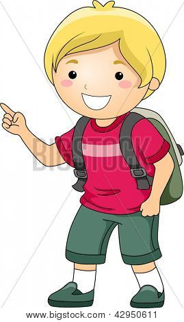 Illustration of a Smiling Student Boy Pointing His Fingers