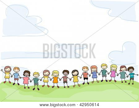 Illustration of Smiling Stick Kids Holding Hands in Unity
