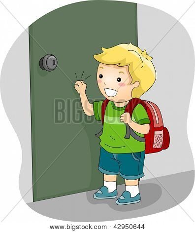 Illustration of a Boy Knocking on a Door