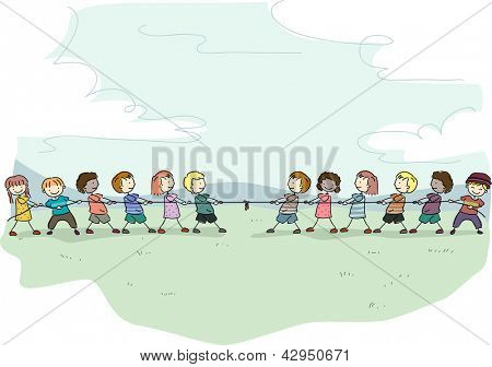 Illustration of Stick Kids playing Tug of War