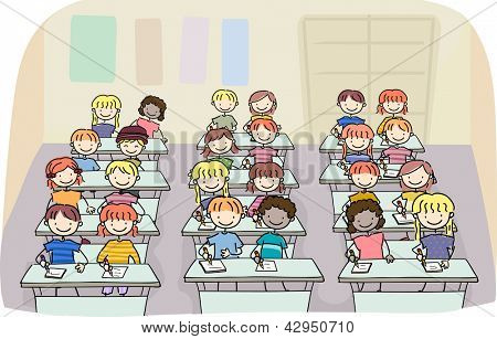 Illustration of Stick Kids in a Writing Class