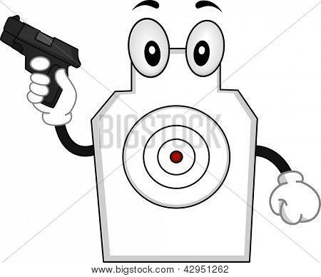 Illustration of a Target Shooting Mascot holding a Gun