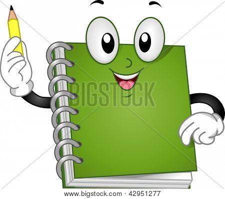 Illustration of a Spiral Notebook Mascot raising up a Pencil