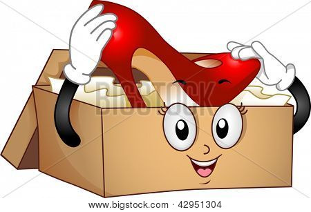 Illustration of a Shoebox Mascot holding a Red Stilleto