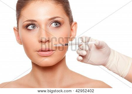 woman face and syringe