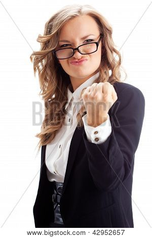 businesswoman showing fist