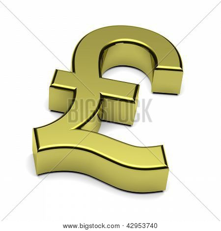 3D Pound Sterling Currency Sign Isolated On White