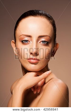 Beauty Portrait On Chocolate Background