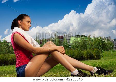 Jogger Girl Taking Break