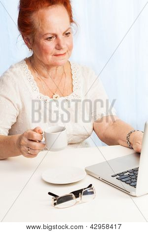 Old Lady Reading Her Email
