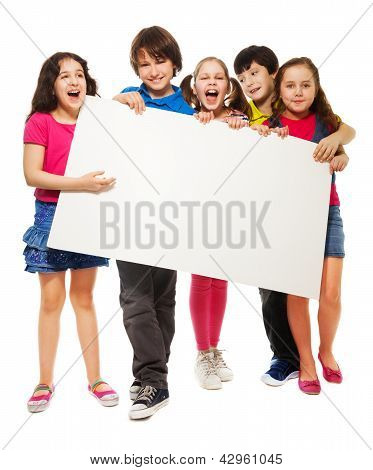 Five Kids Showing Blank Board