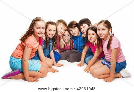 Boys And Girls Sitting Together In Semi-circle