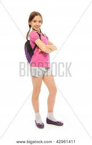 Nice And Happy School Girl With Backpack