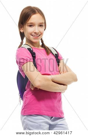 Happy Smiling Schoolgirl With Backpack