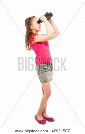 Girl Searching For Something With Binoculars