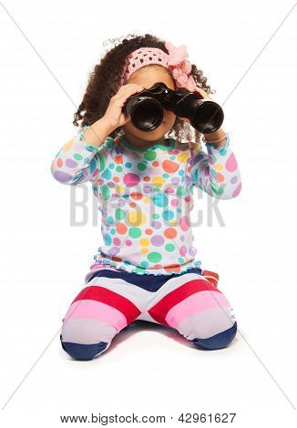 Portrait Of Super Cute Black Girl With Binoculars