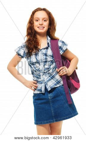 Girl With Smile And Wearing Backpack