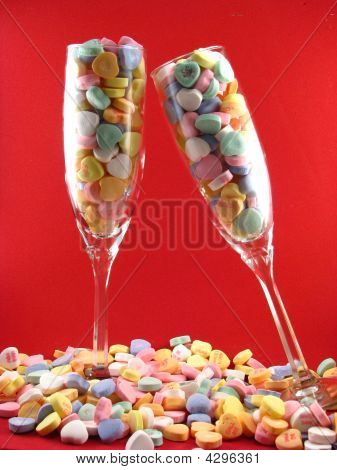 Champagne Glasses With Conversation Hearts