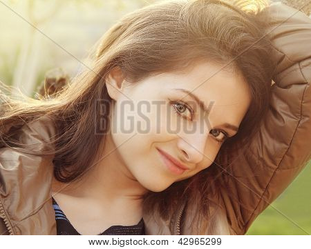 Beautiful Girl Outdoors Sunny Day Background Looking