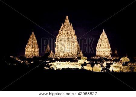 Prambanan temple at the night near to Yogyakarta on Java, Indonesia.