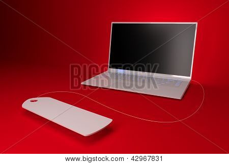 One Laptop On A Red Background With A Label