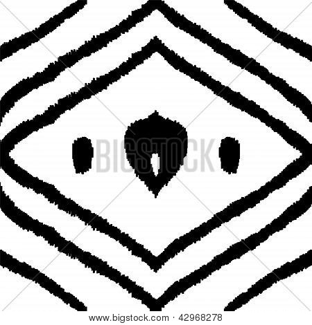 Abstract traditional middle east ikat silk fabric seamless pattern in black and white, vector