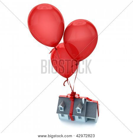 Floating balloons holding a house with a tied bow