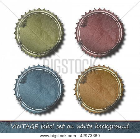 Vintage label set - retro frame border - grunge label collection against white background