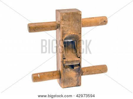 Old Wooden Planer Tool  Isolated On White Background