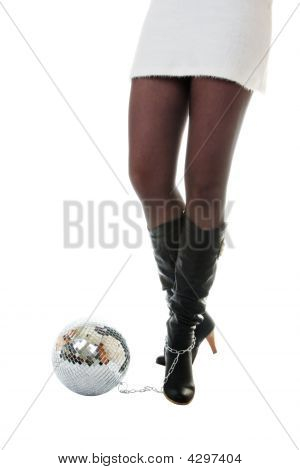 Sexy Woman Legs And Disco Mirror Ball