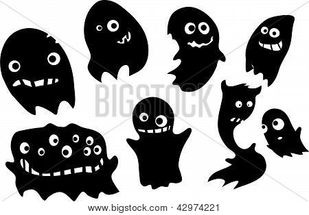 Set of funny ghosts silhouettes