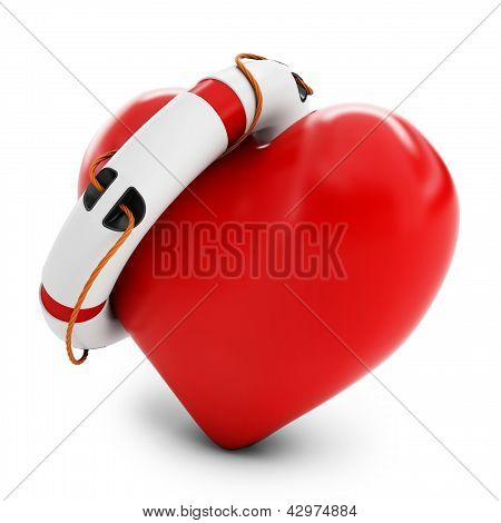 3D Heart With Lifebuoy Isolated On White Background