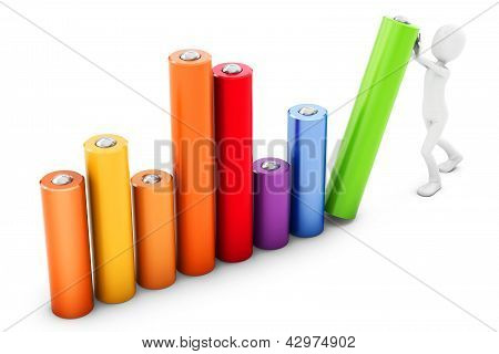 3D Man Pushing A Bar Chart