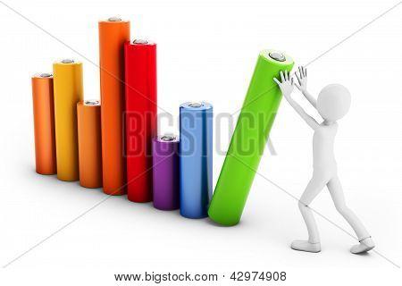 3D Man Pushing A Bar Chart