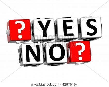 3D Yes No Button Click Here Block Text