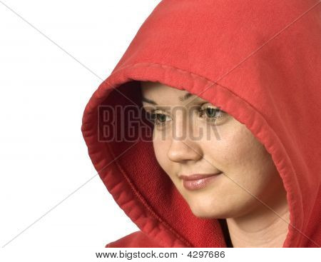 Close Up Portrait Of A Beautiful Girl In A Hood Looking At Blank Space