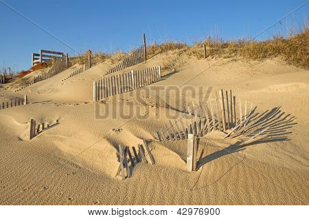 Snow Fence On The Beach At Nags Head, North Carolina