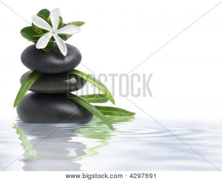 White Flower And Spa Stones In Water On White