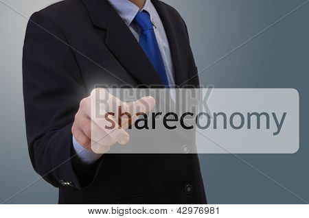 Businessmann Touching Shareconomy Symbol