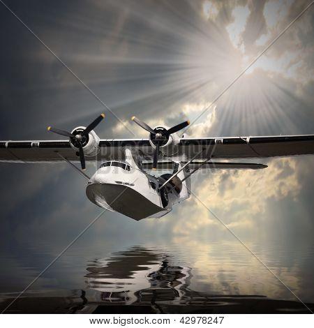Vintage seaplane over sea.