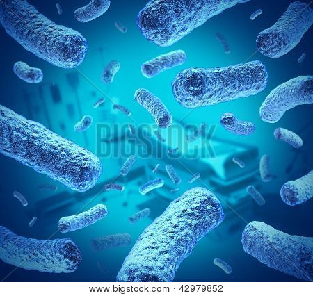 Hospital germs as bacteria and bacterium cells floating in microscopic