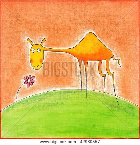 Happy young camel, child's drawing, watercolor painting on canvas paper