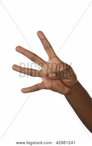 Hand Shows Four Fingers
