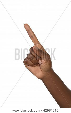 Hand Shows One Forefinger