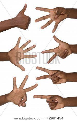 Mãos mostram números